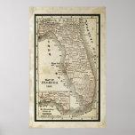 Mapa antigo de Florida Pôsteres