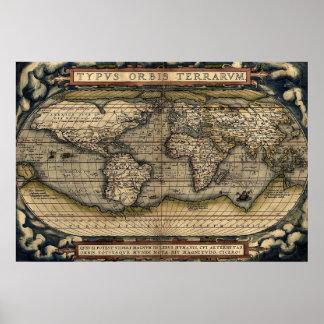 Mapa antigo do atlas do impressão do mundo