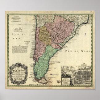 Mapa antigo do Chile & de Paraguai 1733 Pôster