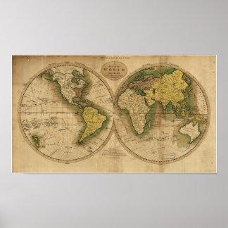 Mapa antigo do mundo - 1795 pôster