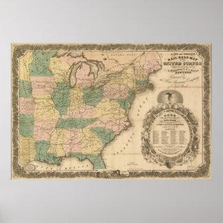 Mapa antigo do trilho 1858 dos Estados Unidos Pôsteres
