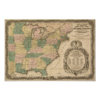 Mapa antigo do trilho 1858 dos Estados Unidos Pôster