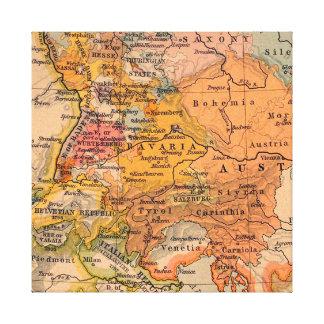 Mapa antigo extraordinário a Europa Central Impressão Em Canvas