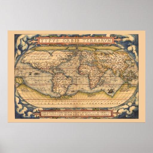 Mapa antigo famoso de Ortelius do mundo Impressão