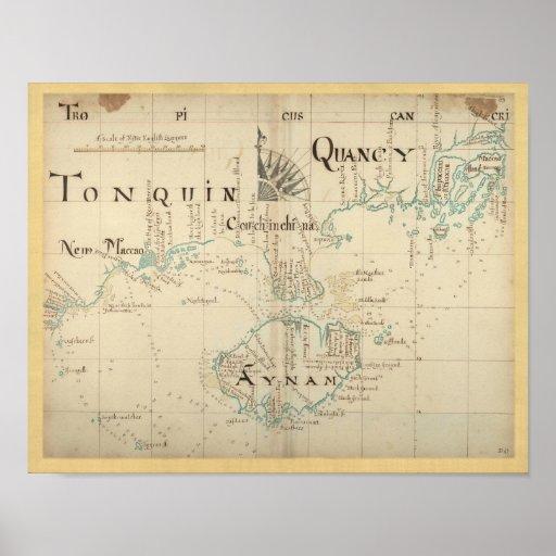 Mapa autêntico de 1690 piratas posteres