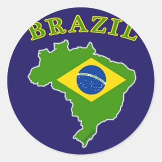 Mapa/bandeira de BRASIL no fundo do marinho Adesivos Redondos