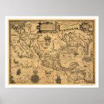 Mapa clássico 1600 de América Poster