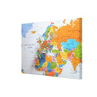 Mapa colorido do viagem impressão em tela