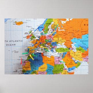 Mapa colorido do viagem poster