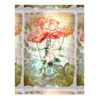 Mapa, compasso, rosas panfleto personalizado