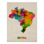 Mapa da aguarela de Brasil Poster