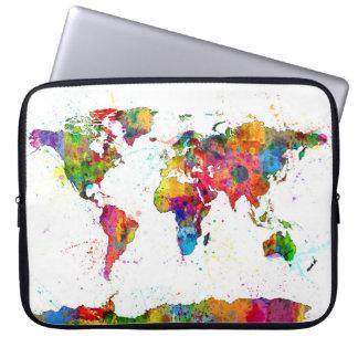 Mapa da aguarela do mapa do mundo bolsas e capas para computadores