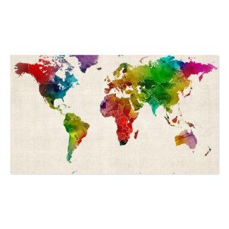 Mapa da aguarela do mapa do mundo cartão de visita