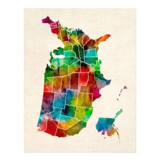 Mapa da aguarela dos Estados Unidos Panfleto Coloridos