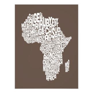 Mapa da arte do texto do mapa de África
