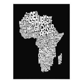 Mapa da arte do texto do mapa de África Fotografia