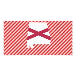 Mapa da bandeira de Alabama Cartões Com Foto Personalizados