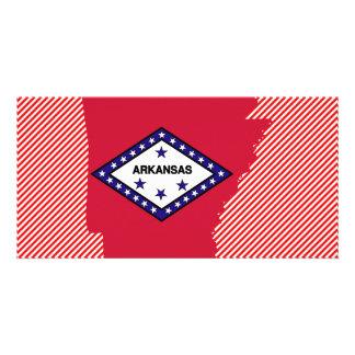 Mapa da bandeira de Arkansas Cartão Com Foto Personalizado