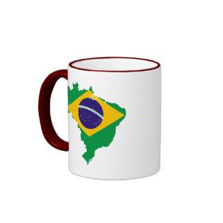 mapa da bandeira de Brasil Canecas