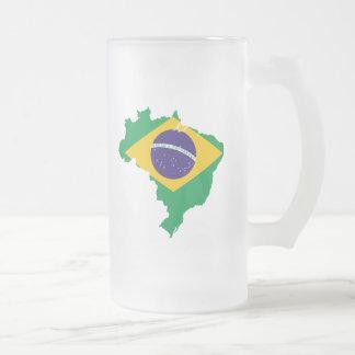 mapa da bandeira de Brasil Caneca De Vidro Fosco