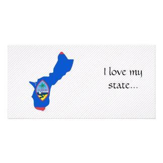Mapa da bandeira de Guam Cartões Com Foto Personalizados