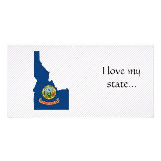 Mapa da bandeira de Idaho Cartões Com Fotos Personalizados