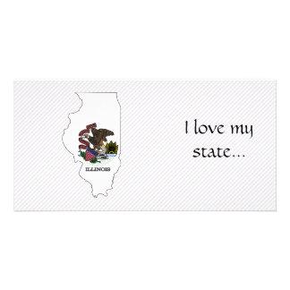 Mapa da bandeira de Illinois Cartao Com Foto Personalizado