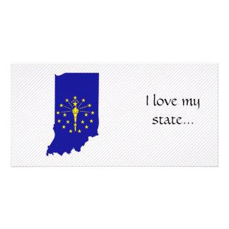 Mapa da bandeira de Indiana Cartao Com Foto Personalizado