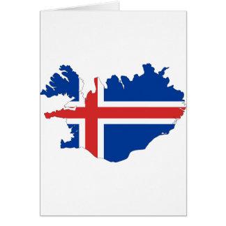 Mapa da bandeira de Islândia Cartão Comemorativo