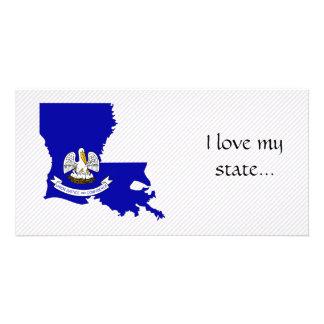 Mapa da bandeira de Louisiana Cartão Com Foto