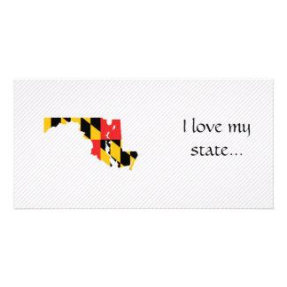 Mapa da bandeira de Maryland Cartão Com Foto Personalizado