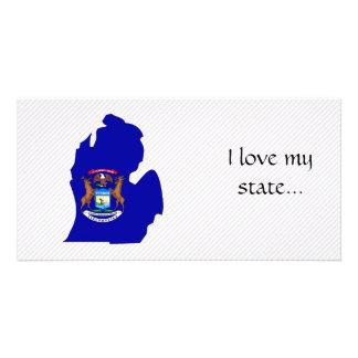 Mapa da bandeira de Michigan Cartões Com Foto Personalizados
