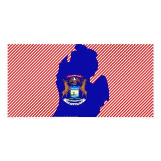 Mapa da bandeira de Michigan Cartão Com Foto