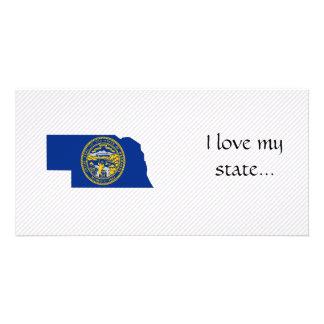 Mapa da bandeira de Nebraska Cartoes Com Fotos Personalizados