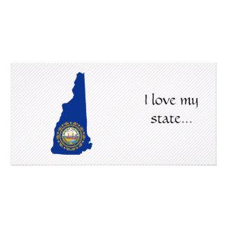 Mapa da bandeira de New Hampshire Cartões Com Fotos
