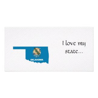 Mapa da bandeira de Oklahoma Cartoes Com Fotos Personalizados