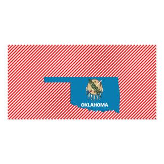 Mapa da bandeira de Oklahoma Cartões Com Fotos Personalizados