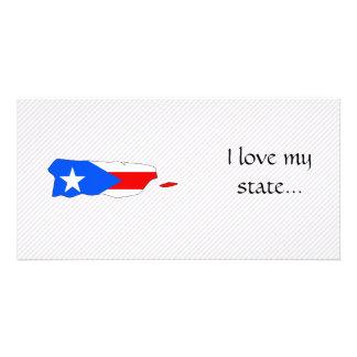 Mapa da bandeira de Puerto Rico Cartão Com Fotos