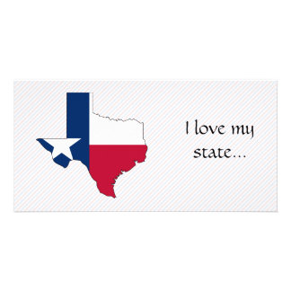 Mapa da bandeira de Texas Cartões Com Foto Personalizados