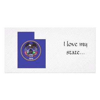 Mapa da bandeira de Utá Cartões Com Foto Personalizados