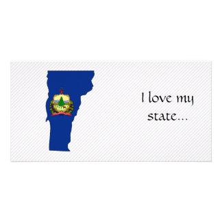 Mapa da bandeira de Vermont Cartões Com Foto Personalizados