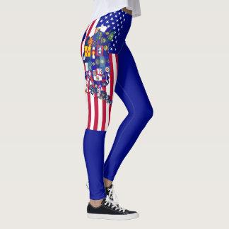 Mapa da bandeira do estado dos EUA direito do Legging