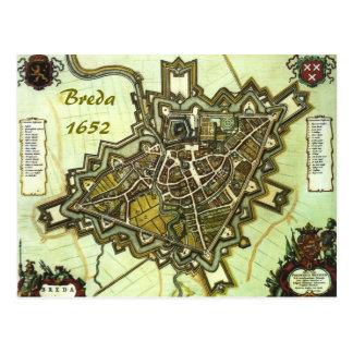 Mapa da cidade de Breda, desde 1652 Cartão Postal