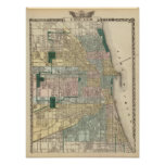 Mapa da cidade de Chicago Pôsteres