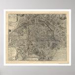 Mapa da cidade de Paris por Nicolas de Fer 1700 Pôsteres