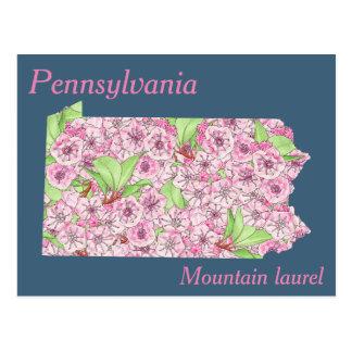 Mapa da colagem da flor de estado de Pensilvânia Cartão Postal