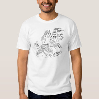 Mapa da comida de Europa T-shirts