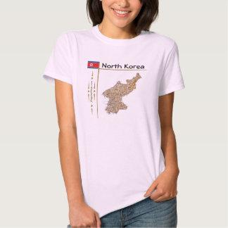 Mapa da Coreia do Norte + Bandeira + T-shirt do