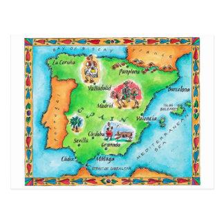 Mapa da espanha cartão postal