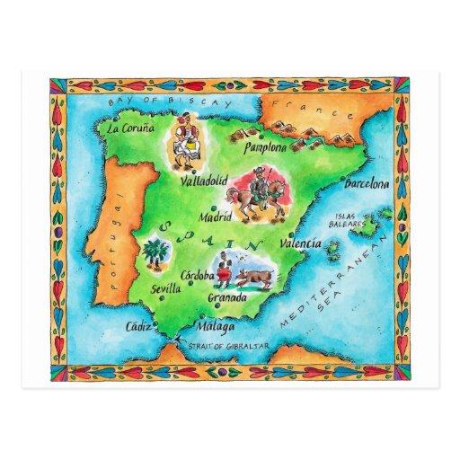 Mapa da espanha cartões postais